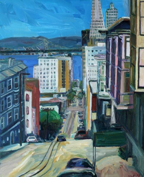 Washington St San Francisco Impressionism John Kilduff Cityscape Large 5x4 feet