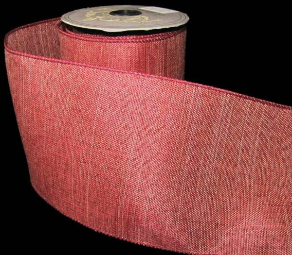 10 Yds Red Christmas Burlap Like Wired Ribbon 4quot;W