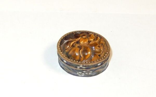 TIGER EYE CLOISONE ENAMEL PILL JAR BOX