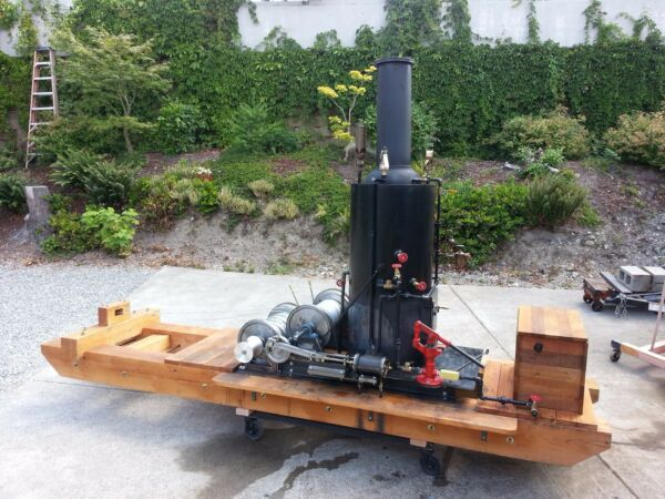 Steam Engine Donkey Logging Yarder Engine Boiler with Pump Whistle Gauge
