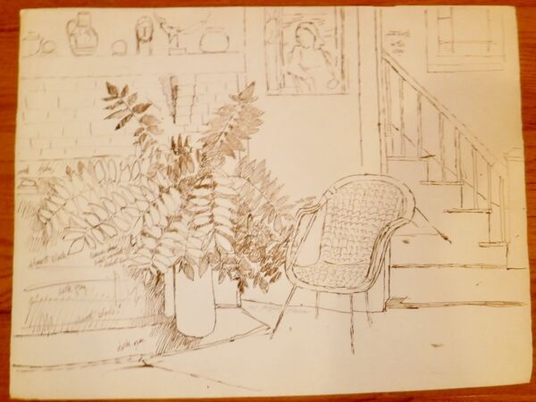 Interior with PlantFireplace & Stairs 19 x 26 Ink Drawing-1969-August Mosca