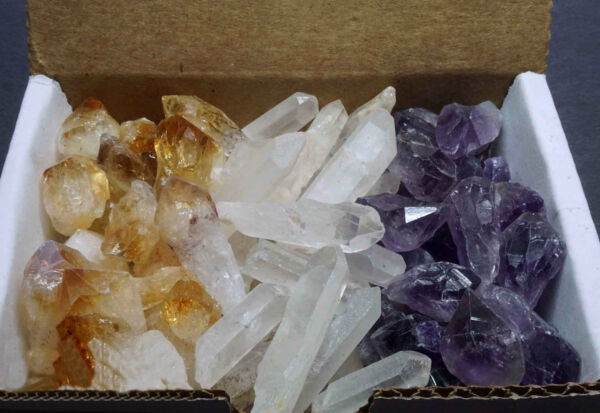 3 Crystal Collection 1 2 Lb Lots Natural Points Amethyst Citrine amp; Clear Quartz $19.95