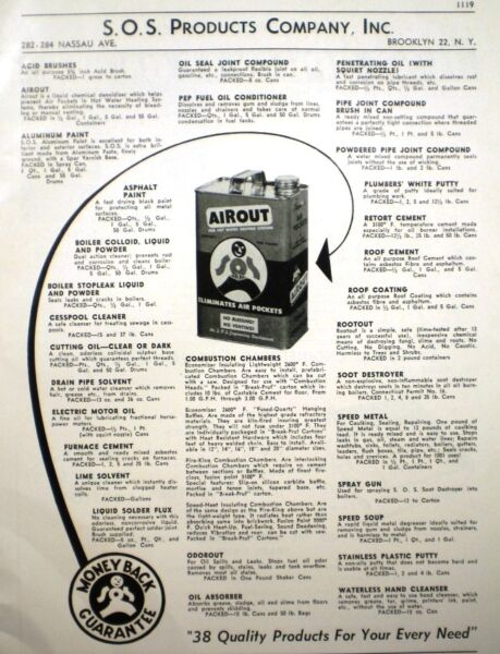 S.O.S. SOS Products Company ASBESTOS Furnace Cement Roof Coating Page Ad 1952