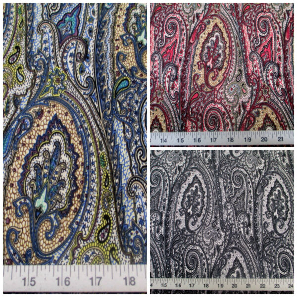 Discount Fabric Printed Lycra Spandex Stretch Paisley Choose Your Color