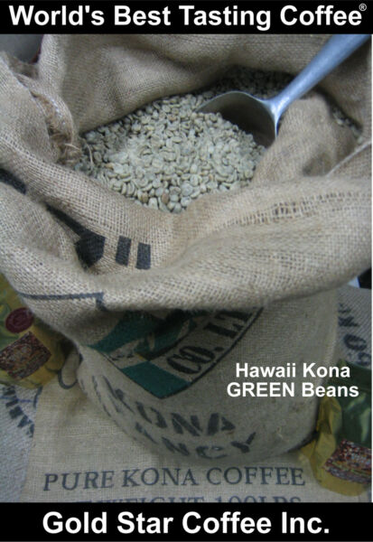 10 lbs - 100% Hawaii - Hawaiian Kona Coffee Green Beans - For Home Roasting