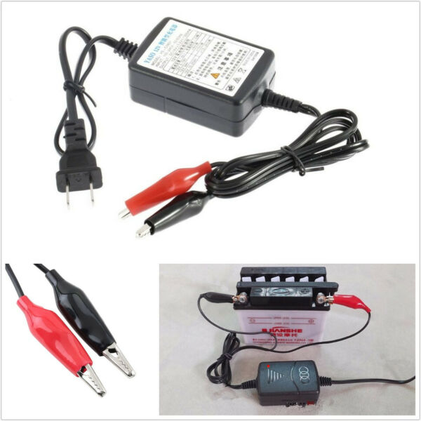 Portable Mini 12V 1300mA Vehicle Automobile Battery Trickle Charger 100-240V AC