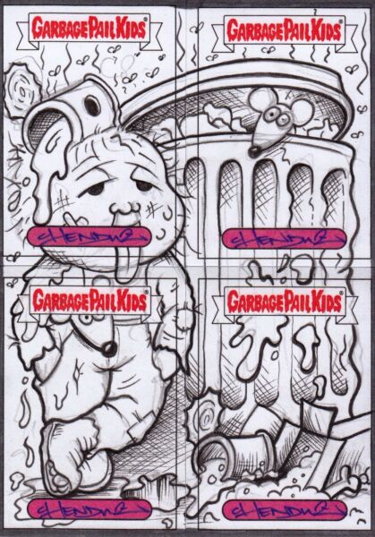 2017 GARBAGE PAIL KIDS ADAM GEDDON LOADED SKETCH CARD GPK DAN BACK ART CHENDUZ