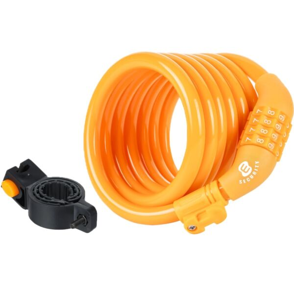 Etronic ® Security Lock M6 Self Coiling Cable Lock 6 Feet x 3 8 Inch Yellow $10.99
