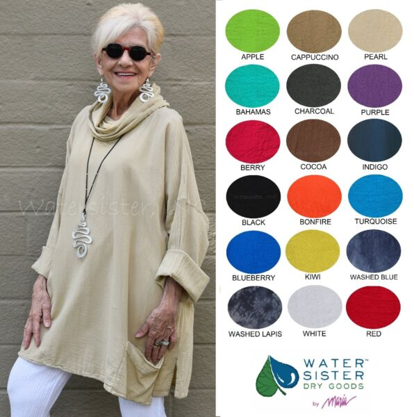 WATERSISTER Cotton Gauze  MONICA Cowl Pocket Tunic Top OS (ML-1X)  2019 COLORS