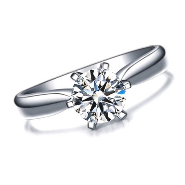 Womens 1 Carat CZ Ring band created Brilliant Cut Single 1ct - WHITE GOLD PLATED