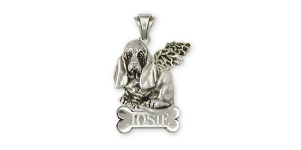 Basset Hound Angel Personalized Pendant Jewelry Sterling Silver Handmade Dog Per $152.98