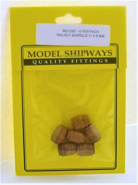 Model Shipways Fittings MS0387 Walnut Barrels 716X516 (11X8MM) 12 Pieces. NEW