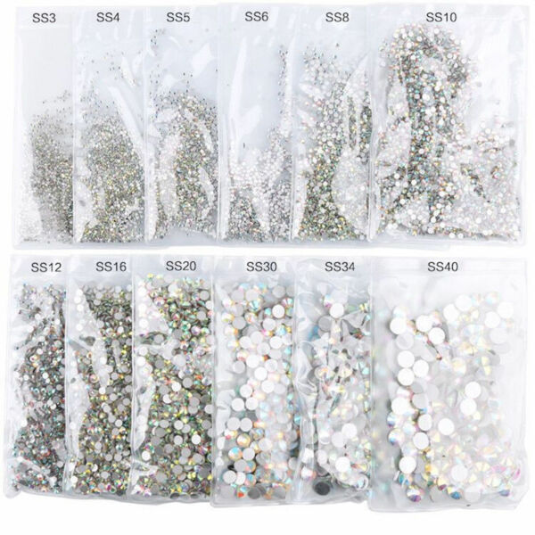 1440pcs Pcs Nail Art Rhinestones Glitter Diamond Gems 3D Tips DIY Decoration