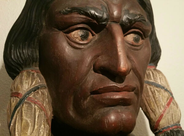 NEW YORK CITY antique sittiing bull cigar store indian wood carving vtg statue