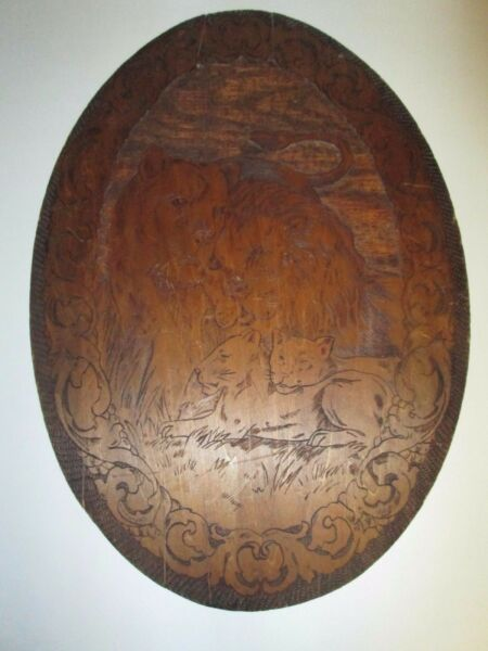Vintage Flemish Art Pyrography Wood Burning Wall Plaque LION Family