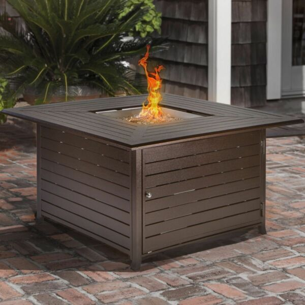 Outdoor Backyard Patio LP Propane Gas Fire Pit Heater Square Table With Cover