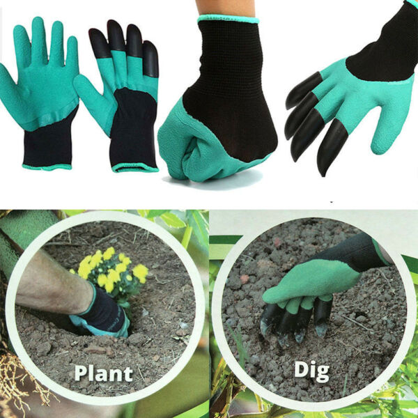 1 Pair Garden Gloves for Gardening Digging And Planting With 4 ABS Plastic Claws