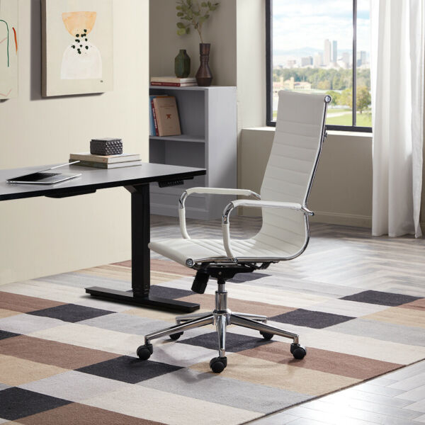 Modern High-Back White Ribbed Upholstered PU Leather Executive Office Desk Chair $94.99