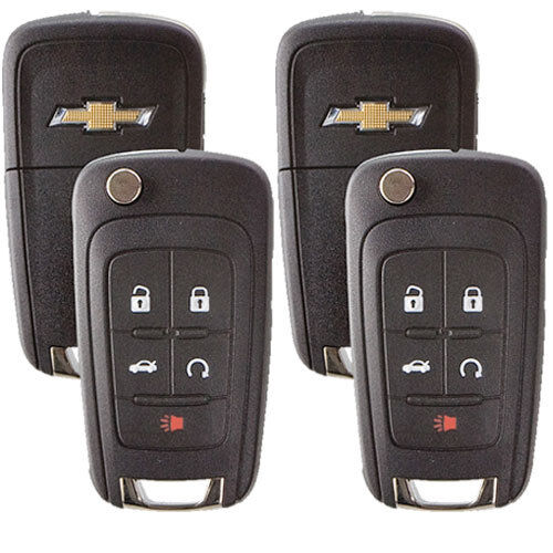 2 New Flip Key Keyless Entry Remotes for Chevrolet 5-button with Remote Start