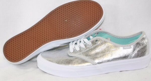 NEW Womens VANS Camden Metallic Silver White retro style Sneakers Shoes