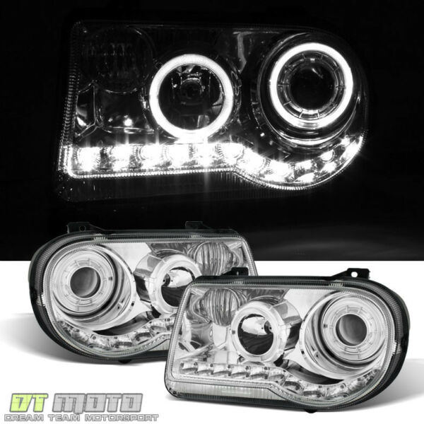2005-2010 Chrysler 300C LED Halo Projector Headlights 06-09 Headlamps left+Right