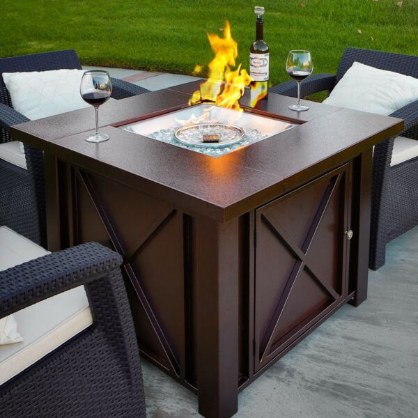 NEW LPG Fire Pit Table Outdoor Gas Fireplace Propane Heater Patio Backyard Deck