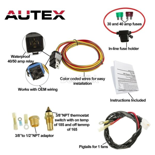 185 Degree On 165 Off Electric Cooling Fan Wiring Thermostat 40 amp Relay Kit