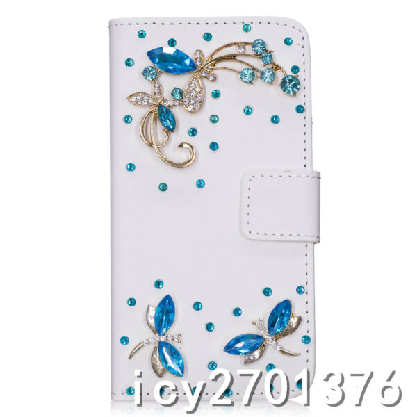 Handmade Bling Crystal Diamond blue dragonfly PU leather wallet Phone Case skin