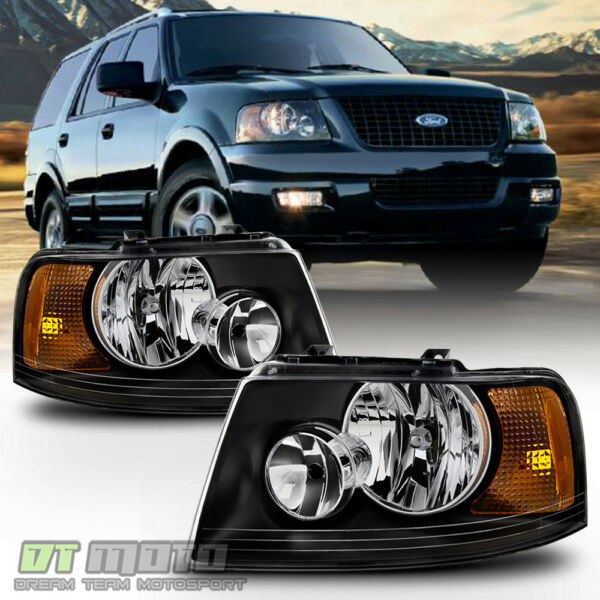 Blk 2003 2006 Ford Expedition Headlights Headlamps Aftermarket 03 06 LeftRight $78.99