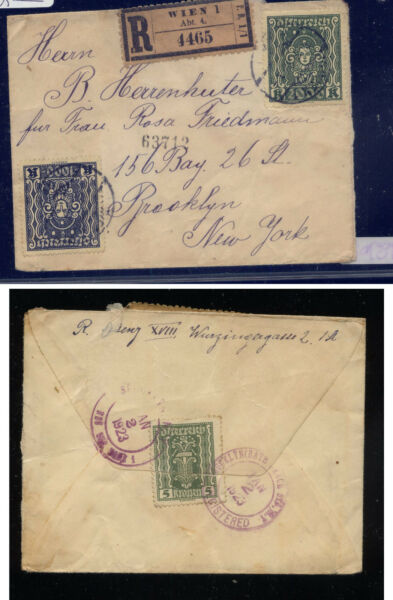 Austria   registered cover to  US  1923        KEL0321