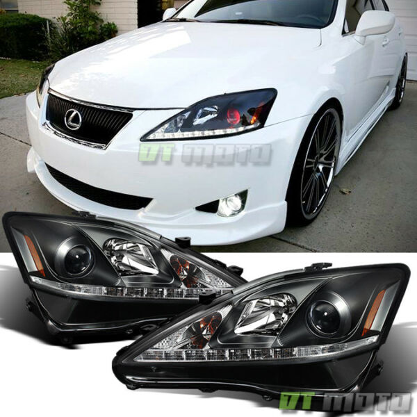 For 2006 2010 Lexus IS250 IS350 Black LED DRL Projector Headlights LeftRight