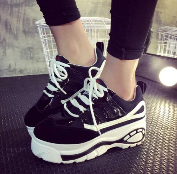 Women's Round Toe Platform Creeper Casual Sports Lace Up Sneakers Shoes New