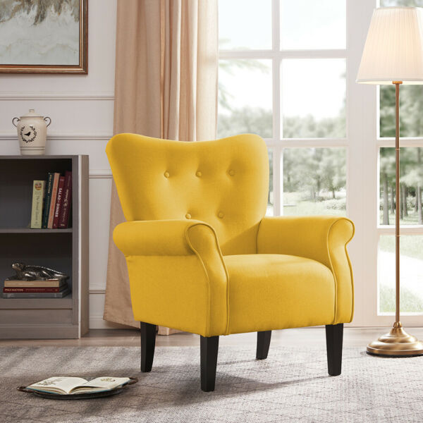 Arm Chair Accent Single Sofa Linen Fabric Upholstered Living Room Citrine Yellow $169.99