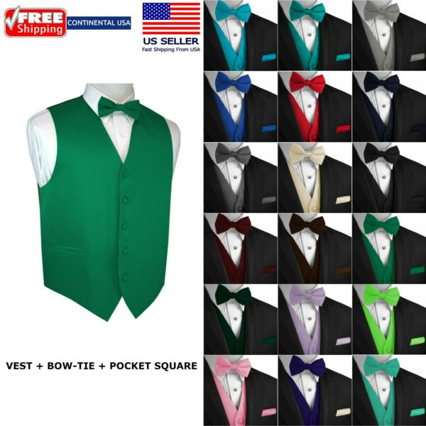 Men's Solid Satin Tuxedo Vest Bow-Tie and Hankie. Formal Dress Wedding Prom