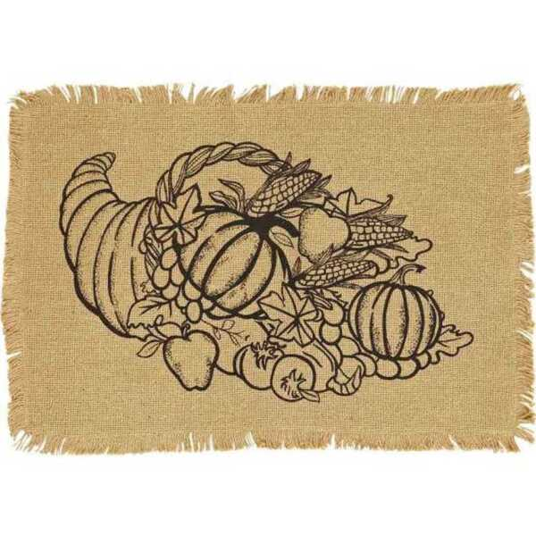 GIVING THANKS BURLAP PLACEMAT SET 2 PC 12 X 18