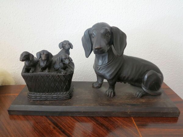 hand carved wood german dachshund with puppies black forest