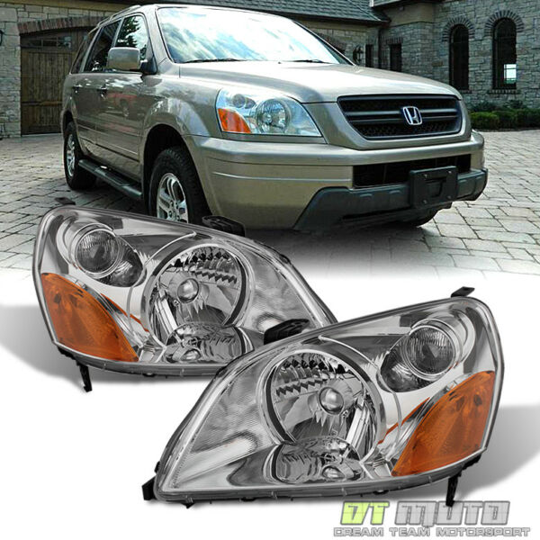 For 2003 2004 2005 Honda Pilot Headlights Headlamps Replacement 03 05 LeftRight
