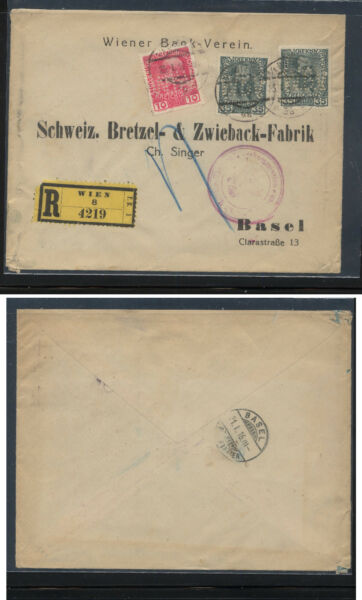 Austria perfin stamps  on cover  registered to Switzerland 1916       KS0627
