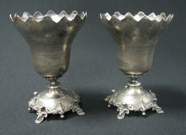 OTTOMAN PAIR SULTAN TUGHRA TURKEY SILVER SPOON HOLDER RUSSIA IMPERIAL COURT