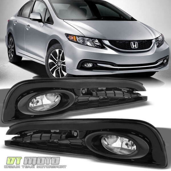 For 2013 2015 Honda Civic 4Dr Sedan Bumper Fog Lights Lamps w Switch LeftRight
