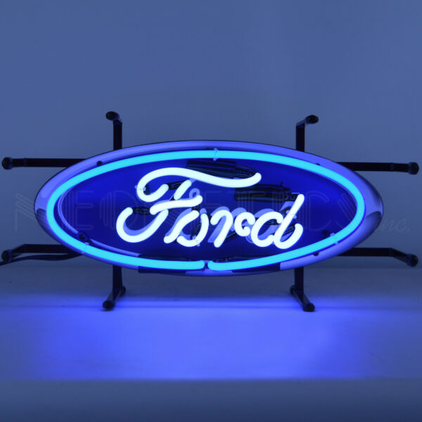 Licensed Ford Oval neon sign wall garage lamp light Blue and white Oval V8 OLP $168.00