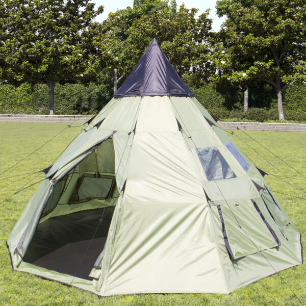 BCP 10'x10' Teepee Camping Tent Family Outdoor Sleeping Dome W/ Carry Bag