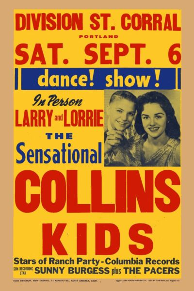 Rockabilly: The Collins Kids amp; Sonny Burgess In Portland Poster 1958 12x18