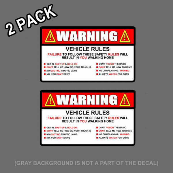 x2 Warning Rules Decal Sticker Funny FOR Jeep JDM Car Truck SUV 5quot; $3.75