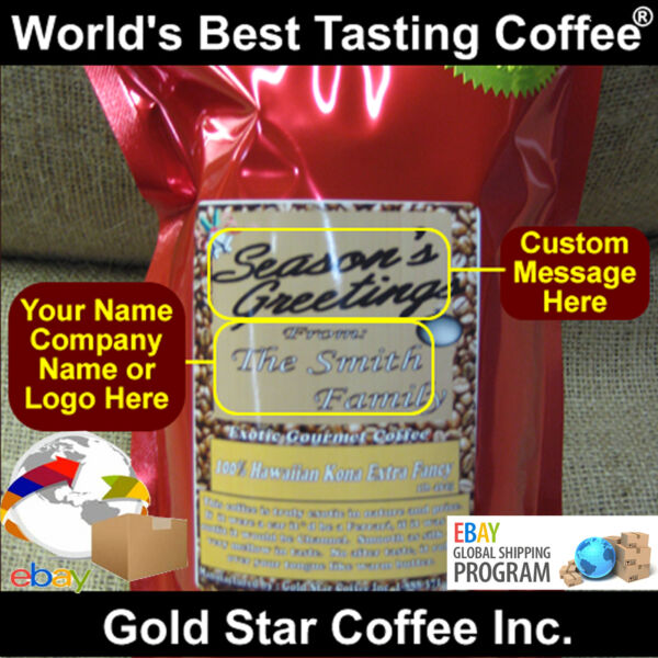 Custom Labeled Coffee - 10 lb Hawaii Hawaiian Kona - Roasted Fresh as Ordered