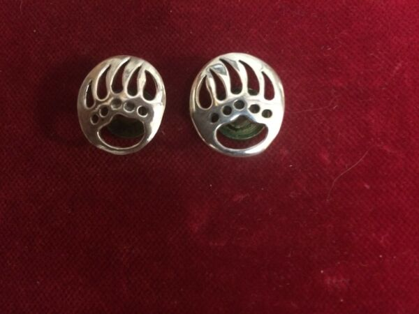 Conchos: Pair of Sterling BEAR Paws Right & Left flush mount Post and screw