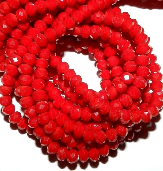 CR180L2 Dark Red Coral Opaque 4mm Rondelle Faceted Cut Crystal Glass Beads 12