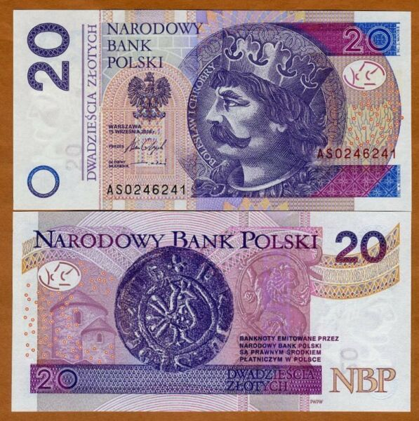 Poland 20 Zlotych 2016 2017 P 184 New New Sig. UNC