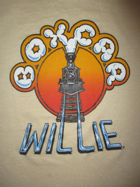 Rare BOXCAR WILLIE T SHIRT vtg 80s Softest Country Railroad Train Hobo Concert S