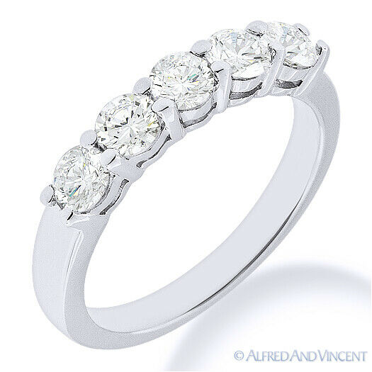 Forever ONE D-E-F Round Cut Moissanite 14k White Gold 5-Stone Band Wedding Ring